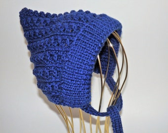 Baby's Blue Knitted Pixie Hat