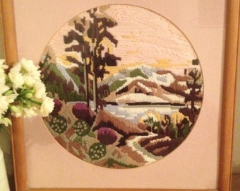SALE ** NOW REDUCED** Vintage Scandinavian Style Lake/Mountain Tapestry