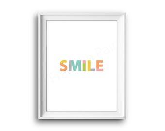 Smile,Lach,Printable Kids Art,Print,Kidsroom Decor, Nursery Print,Printable Print,Digital Download,Positive feeling, emotion,healthy, text