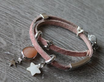 Leather Wrap bracelet Brown HAND MADE different tags