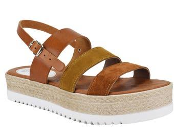 Handmade leather flatform sandal