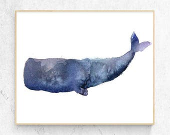 Original Sperm Whale Watercolour Fine Art Print, Coastal Decor, Beach House Printable Digital Download
