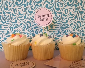 Big Sister Party Cupcake Toppers