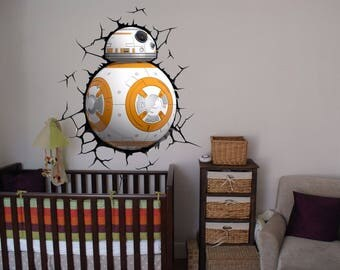 BB-8 Droid robot Star Wars BB8 color 3D Wall Decal Sticker Living Childrens Kids Room  62