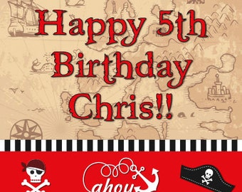 Pirate Birthday! Banner, Invites, Water or Shipping Labels!