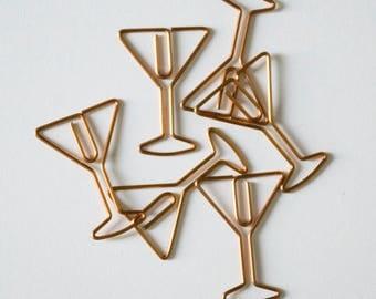 Copper Martini Glass Paper Clips - SET OF 2 Martini Paper Clips, Office Supplies, Novelty Paper Clips, Planner Accessory