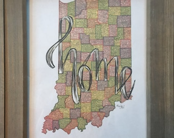 "Indiana ""Home"" Art Print"