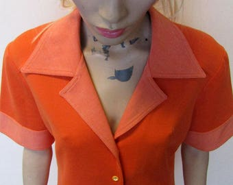 Lovely orange vintage day dress from the 1960's/1970's, size 14