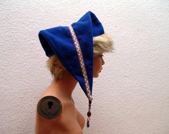 CAP, medieval, Viking, RUS, plate trims, fur Fox, Gr. 59, wool, linen, glass beads, amber