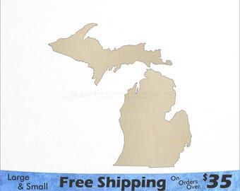 Michigan MI State Cutout - Large & Small - Pick Size - Laser Cut Unfinished Wood Cutout Shapes (SO-0010-22)