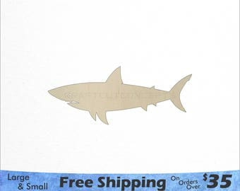 Great White Shark Shape - Large & Small - Pick Size - Laser Cut Unfinished Wood Cutout Shapes (SO-0035)