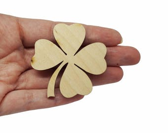 Four-leaf clover jewellery supplies x5, Four-leaf clover Saint Patrick bijoux, Lucky four-leaf clover charms laser wood plexiglas - SET 5 pz