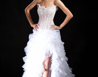 Slit A-line Wedding Dress. Ruffle Bridal Dress. Strapless Wedding Dress With a Train.  Lace Corset.