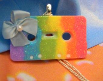Retro Cassette Tape Rainbow Necklace
