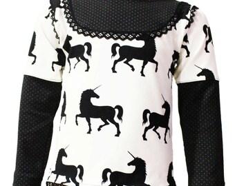 Shirt, long sleeve, black and white, Unicorn, 98/104