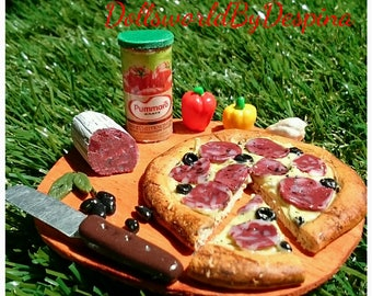 Polymer clay miniature scene with pizza for Barbie size dolls