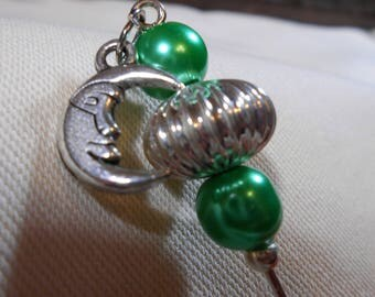 Stickpin with moon charm and colorful glass pearls