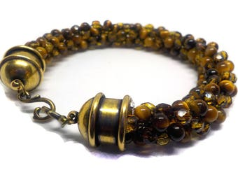 Elegant  sophisticated stylish tigers eye and fire polished beaded bracelet,  Kumihimo braided