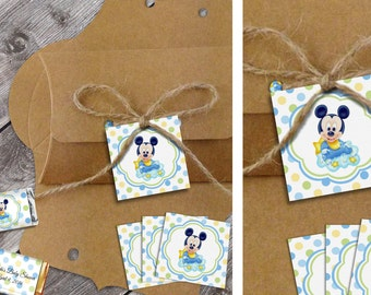 Mickey - Baby Shower Printable Favor Tags - Instant Download