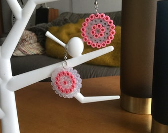 Earrings pearls ironing Hama Midi 'Concentric circles'