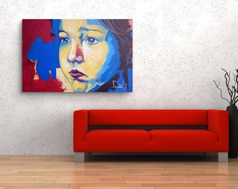 Acrylic painting on stretched canvas, Ready to hang abstract portrait, Abstract modern art, Contemporary art, Large wall art canvas, Modern