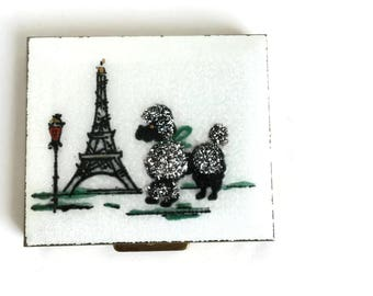Refillable Makeup Compact Guilloche with French Poodle and Eiffel Tower, Gold Purse Compact, Purse Mirror, Vintage Enamel Powder Compact