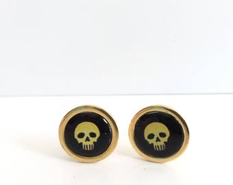 Skull Cuff Links, Gothic Cuff Links, Halloween Cuff Links, Men's Accessories, Men's Gifts, Gifts for Him, Men's Jewelry, Fathers Day Gift