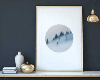 Forest Print, Forest in Circle, Forest with Fog, Scandinavian Design Print, Round Print, Minimal Print, Nordic Interior
