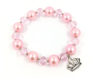 Pink Princess Bracelet, Pink Princess Party Favors,Princess Birthday Party, Princess Bracelet Gift, Bracelet Pink With Crown, Gift Bracelet.