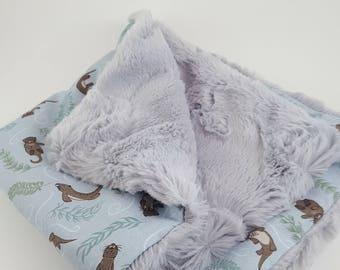 Woodland Themed Blanket, Monogrammed Baby Blanket, Gender Neutral Baby Blanket, Otter Baby Blanket, Monogrammed Baby Shower Gift