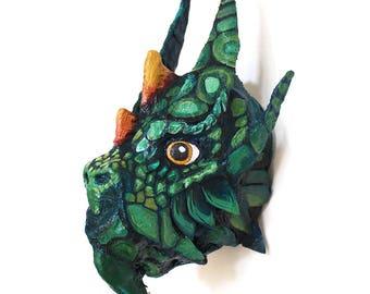 Green Dragon Wall Sculpture