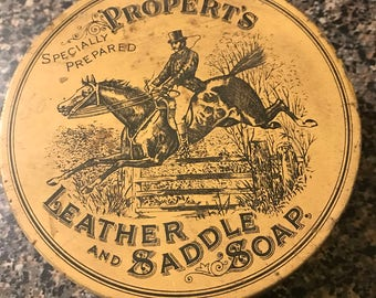 Vintage Propert's Leather and Saddle Soap Tin with Soap