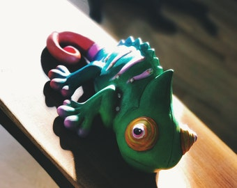 Ceramic Chameleon, Home Decor, Yard Art
