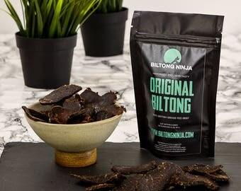 Biltong (Beef Jerky) Handmade - 50g,Sliced,South African Style Jerky,Biltong,Jerky,Gluten Free,Hormone Free,GMO Free, Sliced