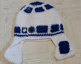 Crocheted R2D2 Hat