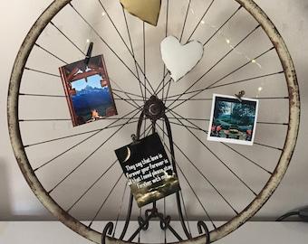 Rustic Bicycle Wheel Photo Holder