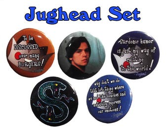 Riverdale inspired Pinback Buttons feature Jughead Jones and Southside Serpents