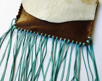 Hank Henrietta Hand Sewn Leather and Hair on Hide, Cowhide Clutch with Turquoise Fringe, Cowhide Purse, Gift for Her