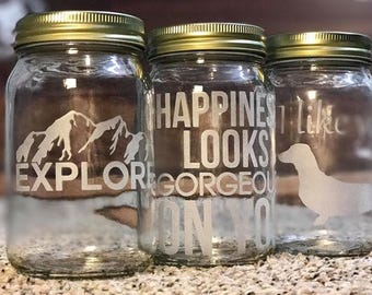 Personalized Mason Jars | Glass Etched | Monogram | Special Events | Glass Etched Jars | Glass Etched Cups
