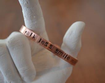 talk less smile more - Hamilton cuff bracelet