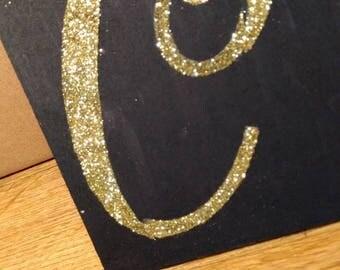 Gold Glitter Letter Wood Wall Decor