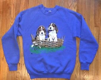 VINTAGE 80s/90s Puppy Basket Crewneck