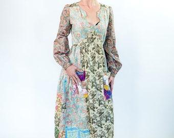 1970s patchwork hippie dress