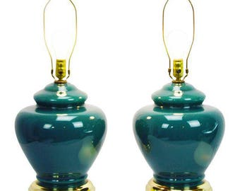 Pair of Mid Century Green Glass Table Lamps