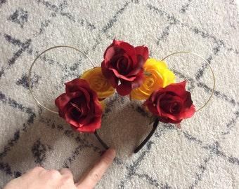 Belle inspired Disney floral headband