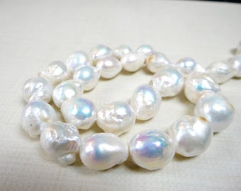 Rainbow white baroque freshwater pearls/13x11-16x15mm/7.5 inch strand