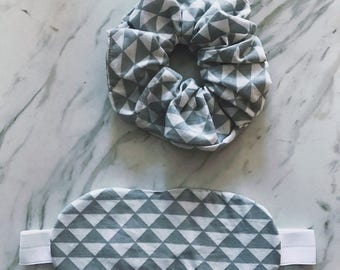 Sleep Mask + Scrunchie Set, White + Grey, Modern Triangle Geometric Print, Eye Mask, Eyemask, Sleepmask