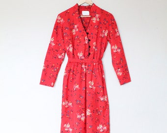 Vintage Red Floral Summer Dress with Mandarin Collar
