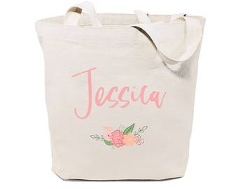 Cotton Canvas Personalized Name Floral Beach, Shopping and Travel Reusable Shoulder Tote and Handbag, Wedding, Bridesmaid Gift, Bridal Party