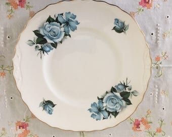 Queen Anne blue roses cake plate, vintage cake plate, vintage, cake plate, rideway potteries